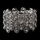 Elegance by Carbonneau B-8704-Silver-Clear Striking Antique Silver Stretch Cuff Bracelet w/ Clear Crystals 8704
