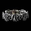 Elegance by Carbonneau B-8708-Black-Clear Stylish Antique Silver Zebra Pattern Rhinestone Stretch Bracelet 8708