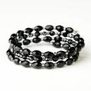Elegance by Carbonneau B-8730-S-Black Silver Black Shiny Stone Coil Bridal Stretch Bracelet 8730