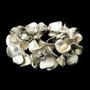 Elegance by Carbonneau B-8736-Ivory Ivory Blush & Rhinestone Flower Bridal Stretch Bracelet 8736