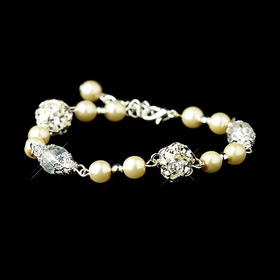 Elegance by Carbonneau B-8744-S-Ivory Ivory Glass Pearl with Clear & Rhinestone Ball Linked Bridal Clasp Bracelet 8744