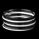 Elegance by Carbonneau B-8801-S-Black Modern Chic Black & White Bangle Fashion Silver Bracelet Set 8801