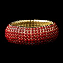 Elegance by Carbonneau B-8802-G-Red Gold Red Stretch Bracelet 8802