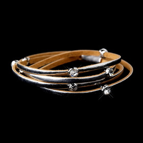 Elegance by Carbonneau B-8814-Silver Leather Wrap 3 Strands with Stone Silver Bracelet 8814