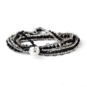 Elegance by Carbonneau B-8831-S-Black Silver Black Wrap Fashion Bracelet 8831