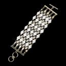 Elegance by Carbonneau B-8841-G-White Gold Clear Rhinestone White Diamond Pattern Fashion Bracelet 8841