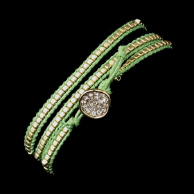Elegance by Carbonneau B-8862-G-Green Green Studded Bohemian Wrap Bracelet with Rhinestone Adornment 8862