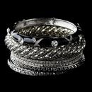 Elegance by Carbonneau B-8869-S-Black Silver & Black Rhinestone 6 Piece Bangle Bracelet Set 8869