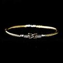 Elegance by Carbonneau B-8875-G-Clear Gold Clear CZ Crystal Hug Cable Bangle Bracelet 8875