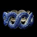 Elegance by Carbonneau B-8990-S-Blue Gotti Majestic Iridescent Blue Rhinestone Bangle Bracelet in Silver 8990