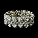 Elegance by Carbonneau B-9236-AS-Clear Antique Silver Clear Crystal Stretch Cuff Bridal Bracelet 9236
