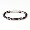 Elegance by Carbonneau B-9246-H-Amethyst Hematite Silver Amethyst Austrian Crystal Bridal Stretch Bracelet 9246