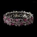 Elegance by Carbonneau B-967-S-Pink Silver Pink Ribbon Stretch Bracelet 967
