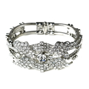 Elegance by Carbonneau B-9675-AS-Clear Rhinestone Flower Delight Pull Open Bangle Bracelet in Antique Silver 9675