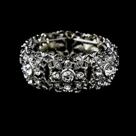 Elegance by Carbonneau B-968-Silver-Clear Silver Clear Crystal Stretch Vintage Bracelet B 968