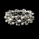Elegance by Carbonneau B-969-AS-Ivory Silver Ivory Vintage Stretch Pearl & Rhinestone Bracelet B 969