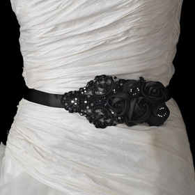 Elegance by Carbonneau Belt-1-Black Black Floral Bead & Sequin Sash Belt 1