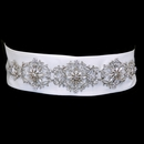Elegance by Carbonneau Belt-130 * Clear Rhinestone Floral Sash Satin Belt 130