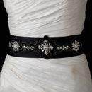 Elegance by Carbonneau Belt-19-Black * Black Floral Clear Crystal Bridal Sash Belt 19
