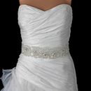 Elegance by Carbonneau Belt-280 Sheer Diamond White Organza Rhinestone & Pearl Accent Beaded Bridal Belt 280