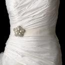 Elegance by Carbonneau Belt-Brooch-117 Wedding Belt Bridal Sash with Antique Silver Crystal Floral Pearl Brooch 117