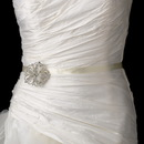 Elegance by Carbonneau Belt-Brooch-138 Wedding Sash Bridal Belt with Silver Crystal Vintage Floral Brooch 138
