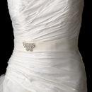 Elegance by Carbonneau Belt-Brooch-3178 Belt with Silver Clear AB Butterfly Brooch 3178