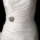 Elegance by Carbonneau Belt-Brooch-37 Belt with Antique Silver Clear Floral Swirl Crystal Brooch 37