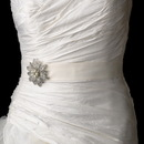 Elegance by Carbonneau Belt-Brooch-38 Belt with Antique Silver Vintage Floral Crystal & Pearl Brooch 38