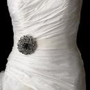 Elegance by Carbonneau Belt-Brooch-79-Black Belt with Antique Silver Black Swirl Rhinestone Brooch 79