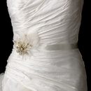 Elegance by Carbonneau Belt-Clip-456-Gold Belt with Gold Plated with Clear Rhinestones & Ivory Feather Clip 456