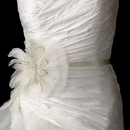 Elegance by Carbonneau Belt-Clip-471 Bridal Belt with Ivory Couture Pearl & Rhinestone Feather Fascinator Clip 471