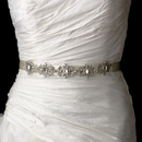 Elegance by Carbonneau Belt-HP-8288 Vintage Satin Ribbon Belt or Headband 8288 with Emerald Shaped Crystals & Rhinestones