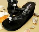 Elegance by Carbonneau Breeze-Black Breeze ~ Black High Wedge Bridal Flip Flops with Sequins & Crystals