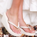Elegance by Carbonneau Breeze-Ivory Breeze - Ivory High Wedge Bridal Flip Flops with Sequins & Crystals