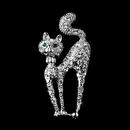 Elegance by Carbonneau Brooch-101-AS-Clear Antique Silver Clear Rhinestone Cat w/ Green Eyes Brooch 101
