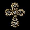 Elegance by Carbonneau Brooch-105-G-Clear Gold Clear Rhinestones Cross Brooch 105