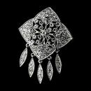 Elegance by Carbonneau Brooch-115-AS-Clear Antique Silver Rhinestone Brooch 115