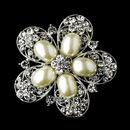 Elegance by Carbonneau Brooch-117-AS-Ivory Antique Silver Ivory Pearl & Rhinestone Brooch 117