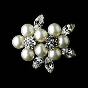 Elegance by Carbonneau Brooch-118-AS-DW Antique Silver Diamond White Pearl and Rhinestone Brooch 118