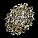 Elegance by Carbonneau Brooch-13-G-Clear Elegant Vintage Crystal Bridal Pin for Hair or Gown Brooch 13 Gold Clear