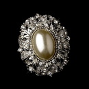 Elegance by Carbonneau Brooch-134-AS-Ivory Vintage Style Antique Silver Oval Diamond White Pearl Brooch 134