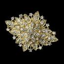 Elegance by Carbonneau Brooch-14-G-Clear Gold Clear Crystal Flower Bridal Brooch 14