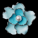 Elegance by Carbonneau Brooch-146-AS-Blue Antique Silver Blue Flower with White Pearl Brooch 146