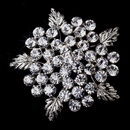 Elegance by Carbonneau Brooch-149-AS-Clear Silver Flower Brooch 149