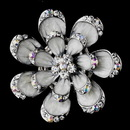 Elegance by Carbonneau Brooch-162-AS-White * Antique Silver Grey Flower with Clear and AB Rhinestones Brooch 162