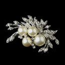 Elegance by Carbonneau Brooch-175-AS-DW Antique Silver Diamond White Pearl & Rhinestone Floral Brooch 175