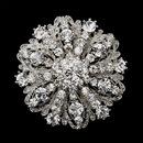Elegance by Carbonneau Brooch-194-AS-Clear Antique Silver Clear Rhinestone Brooch 194
