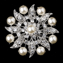 Elegance by Carbonneau Brooch-209-AS-DW Antique Silver Diamond White Pearl & Clear Rhinestone Flower Design Brooch 209