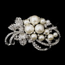 Elegance by Carbonneau Brooch-211-AS Antique Silver Clear Rhinestones with White or Ivory Pearl Accent Brooch 211